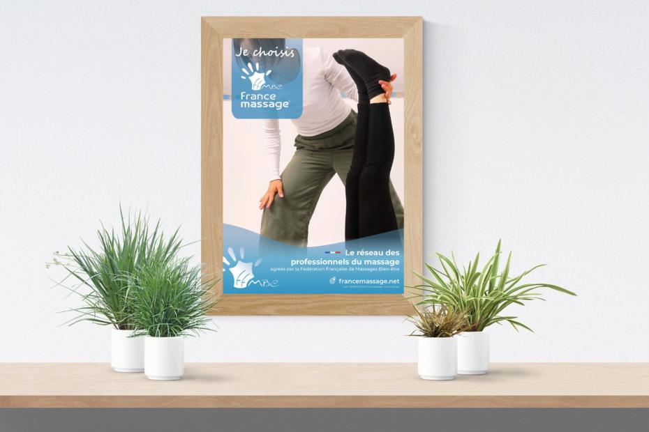 Affiche France Massage dans un cadre